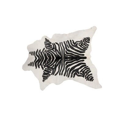 ABC Zebra Hand-Knotted Cowhide White/Brown Area Rug