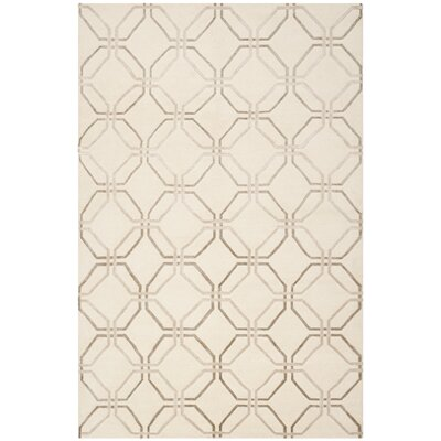 Ivory Geometric Rug Rug Size: Rectangle 9 x 12