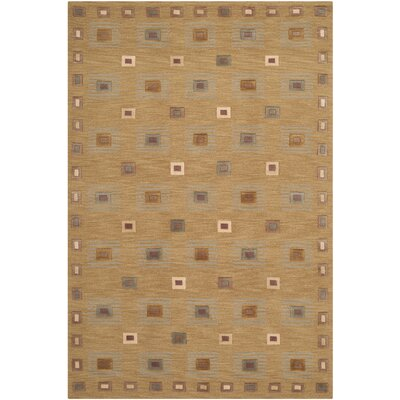 Tibetan Hand-Knotted Wool Gold Area Rug Rug Size: Rectangle 6 x 9