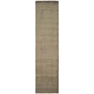Greek Key Wool Olive Area Rug Rug Size: Runner 26 x 12