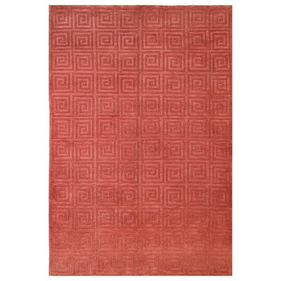 Greek Key Wool Rust Area Rug Rug Size: Rectangle 6 x 9