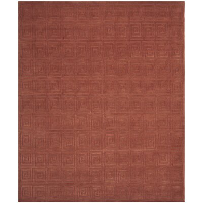 Greek Key Rust Area Rug Rug Size: 9 x 12