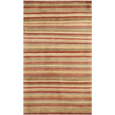Rust Stripes Area Rug Rug Size: 3 x 5