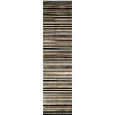 Black/Blue Stripes Area Rug Rug Size: Runner 26 x 10