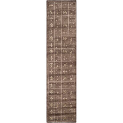 Plum Pictogram Brown Area Rug Rug Size: Runner 26 x 10