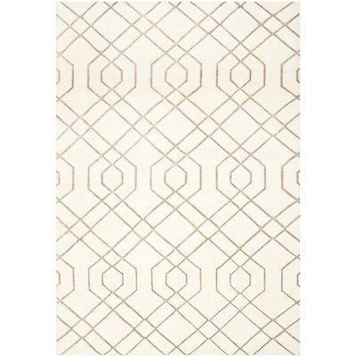 White Geometric Rug Rug Size: Rectangle 9 x 12