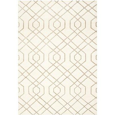 White Geometric Rug Rug Size: Rectangle 9' x 12'