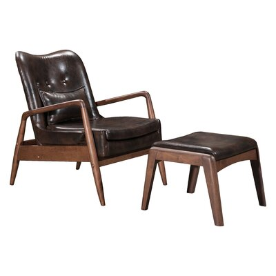 Marlowe Lounge Chair and Ottoman Upholstery: Brown