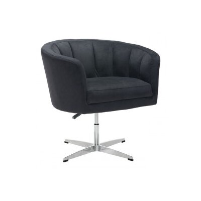 Charlie Occasional Barrel Chair Upholstery: Leatherette - Black