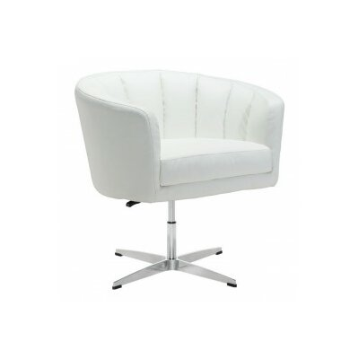 Charlie Occasional Barrel Chair Upholstery: Leatherette - White