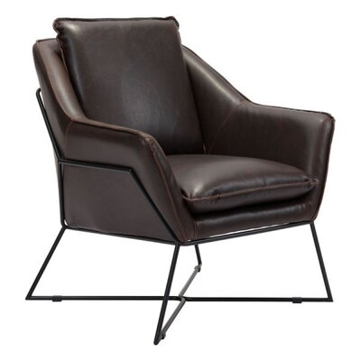 Zane Lounge Armchair Upholstery: Leatherette - Brown