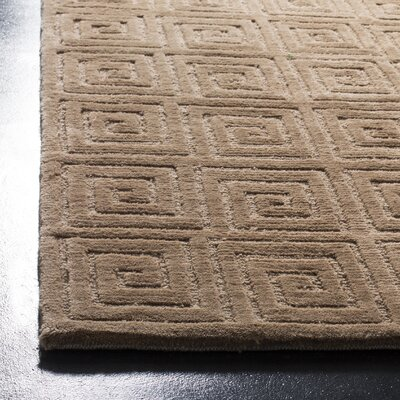 Greek Key Wool Camel Area Rug Rug Size: Rectangle 6 x 9