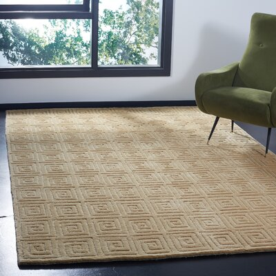 Greek Key Wool Ivory Area Rug Rug Size: Rectangle 6 x 9