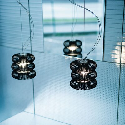 Spring 2-Light Kitchen Island Pendant Diffuser Color: Transparent, Shade Color: Polished Black