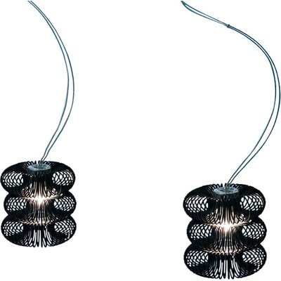 Spring 1-Light Mini Pendant Diffuser Color: Transparent, Shade Color: Polished Black