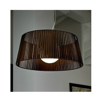 Ribbon 1-Light Drum Pendant Finish: Satin Nickel, Shade Color: Mocha