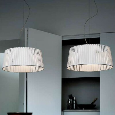 Ribbon 2-Light Drum Pendant Finish: Satin Nickel, Shade Color: White