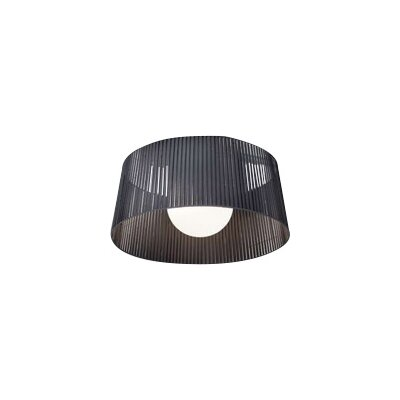 Ribbon 1-Light Semi-Flush Mount Finish: Satin Nickel, Shade Color: Black