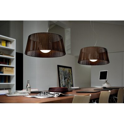 Ribbon 1-Light Drum Pendant Finish: Matte Black, Shade Color: White
