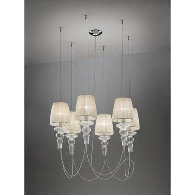 Gadora 6-Light Shaded Chandelier Shade Color: Ivory