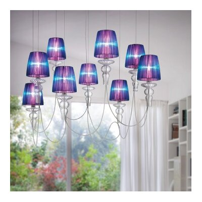 Gadora 9-Light Shaded Chandelier Shade Color: White