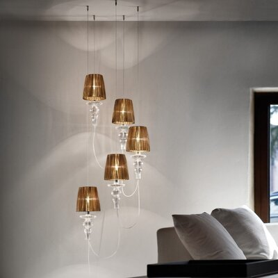 Gadora 5-Light Cascade Pendant Shade Color: White