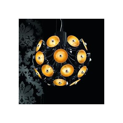 Inverted Pendant Color: Polished Black with Gold Leaf Diffuser