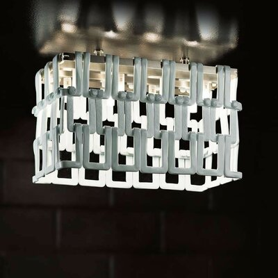 Tessuti Mini 8-Light Semi Flush Mount Shade Color: Transparent Crystal