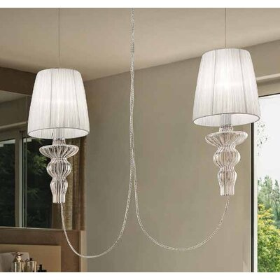 Gadora 2-Light Kitchen Island Pendant Shade Color: White