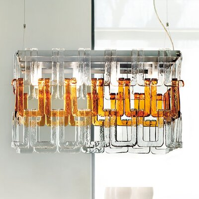 Tessuti Mini 8-Light Pendant Shade Color: Amber