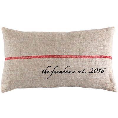 Farmhouse Established Year French Grain Sack Pillow