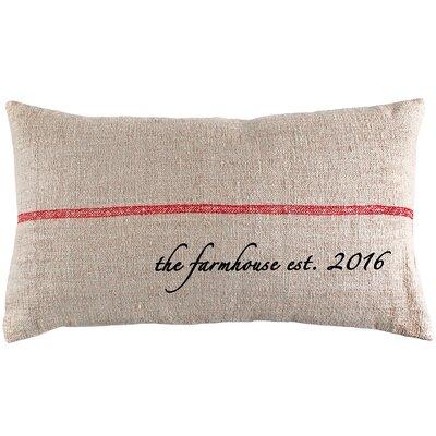 Farmhouse Established Year French Grain Sack Pillow