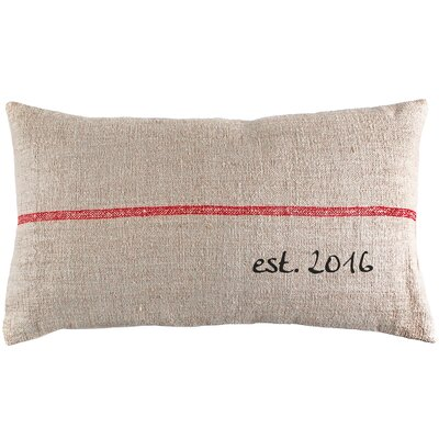 Custom Established Year French Grain Sack Lumbar Pillow