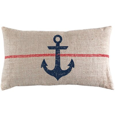 Anchor French Grain Sack Lumbar Pillow 1000NVANCHGRS-OBL