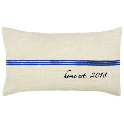 Home Established Year French Grain Sack Pillow Color: Blue Stripe