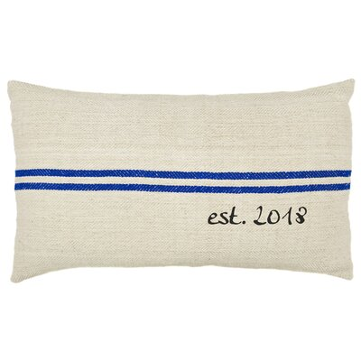 Custom Established Year French Grain Sack Lumbar Pillow Color: Blue Stripe