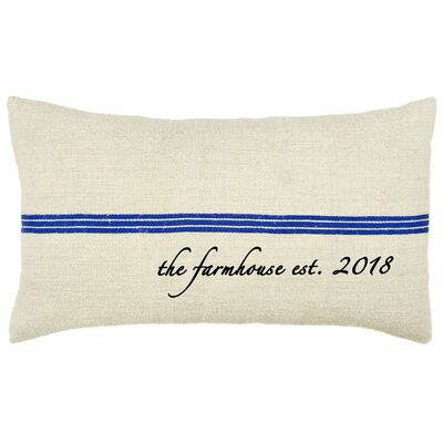 Farmhouse Established Year French Grain Sack Pillow Color: Blue Stripe
