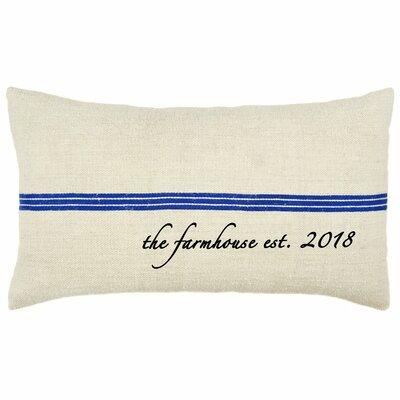 Farmhouse Established Year French Grain Sack Pillow 1000+BLFHGRS-OBL