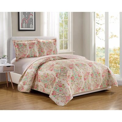 Esbjerg Fashion Flower Printed Reversible Quilt Set Size: Full/Queen