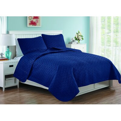 Afton 3D Etched Basket Weave Reversible Quilt Set Color: Navy, Size: Twin