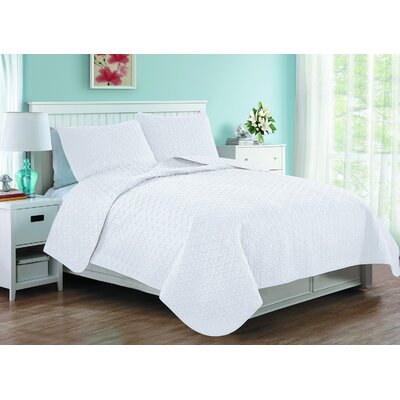 Afton 3D Etched Basket Weave Reversible Quilt Set Size: Twin, Color: White