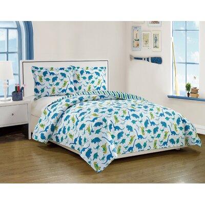 Anita Kids Dinosaur and Stripes Pattern Reversible Quilt Set Size: Twin