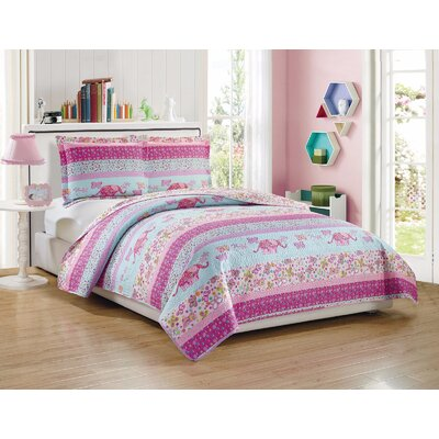 Elleen Kids Elephant and Butterfly Pattern Reversible Quilt Set Size: Full/Queen