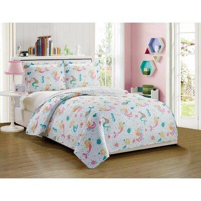 Anita Kids Mermaid Pattern Reversible Quilt Set Size: Full/Queen