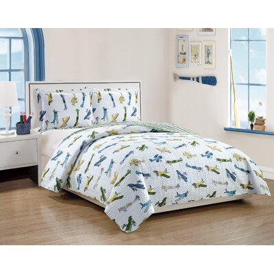 Anita Kids Retro Airplanes Pattern Reversible Quilt Set Size: Full/Queen