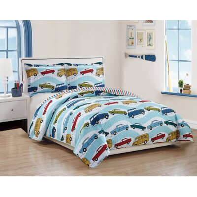 Anita Kids Traffic Car Jam Pattern Reversible Quilt Set Size: Twin