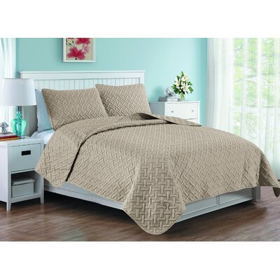 Afton 3D Etched Basket Weave Quilt Set Color: Khaki, Size: Twin