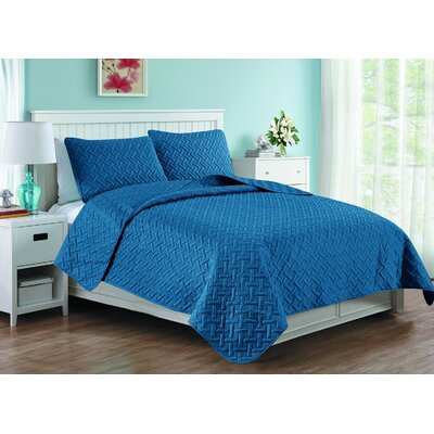 Afton 3D Etched Basket Weave Quilt Set Color: Navy, Size: Queen