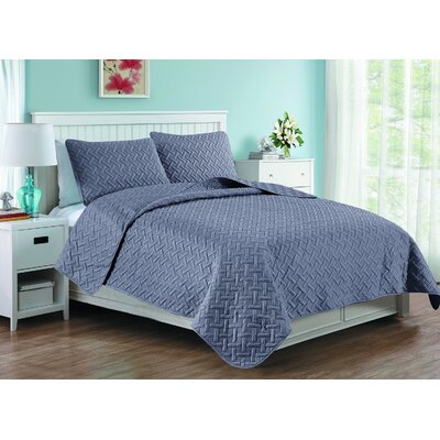 Afton 3D Etched Basket Weave Quilt Set Color: Gray, Size: Queen