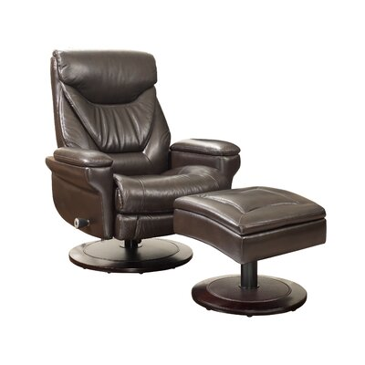 Cinna Leather Manual Recliner With Ottoman